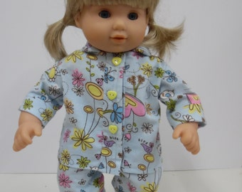 Bitty Baby Blue Floral Flannel Pajamas