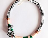 Tendai Neckpiece, Rope Necklace, Peach, Copper, Emerald, Chevron, Tribal Necklace