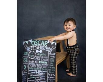 Boy First Birthday Chalkboard Poster Sign Baby's First Birthday Poster Girl or Boy You Pick Colors