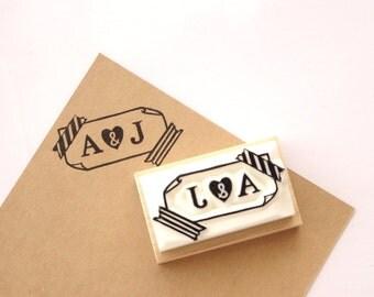 Initial rubber stamp, Custom stamp, Wedding invitation stamp, Rubber stamp handmade, Washi tape stamp