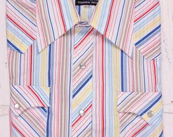 Vintage Champion Western Shirt Men's 16-1/5 35 Pearl snap Long sleeve Striped