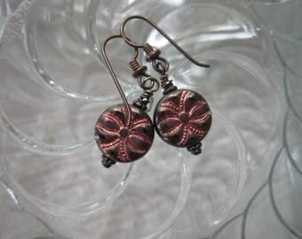 Unique Little *SALE* Czech Glass Spider Earrings Black Copper Short Boho Earrings Unusual Glass Earrings Hypoallergenic Niobium Ear Wires