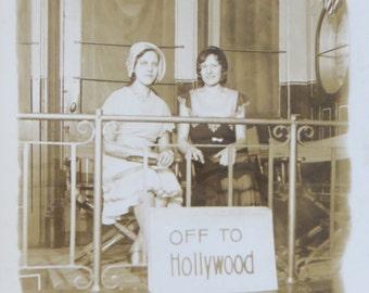 Original 1930's Pretty Ladies Hollywood Bound Real Photo Postcard - Free Shipping