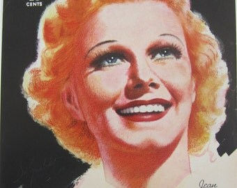 Original March 1937 Jean Harlow Photoplay Magazine Cover - Hollywood's Golden Age - Free Shipping