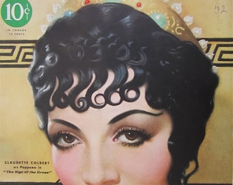 Original November 1932 Claudette Colbert Silver Screen Magazine Cover - Hollywood's Golden Age - Free Shipping