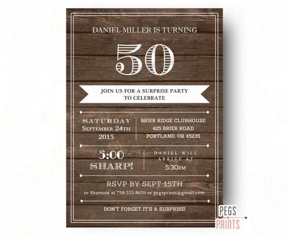 Adult Surprise Birthday Invites for Men Printable Wood Surprise