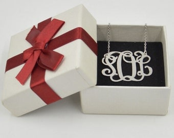 """Personalized Initial Necklace,silver initial pendant,1.25""""monogram gift for lover"""