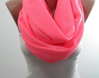 Pashmina Scarf Shawl Fall Winter Cowl Scarf Neon Pink Infinity Scarf Circle Scarf Women Fashion Accessories Holiday Christmas Gifts For Her