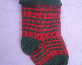 Red green mini stocking, Handknit stocking ornament, Mini stocking decoration, Stocking gift bag, Striped stocking, Handknit tree decoration