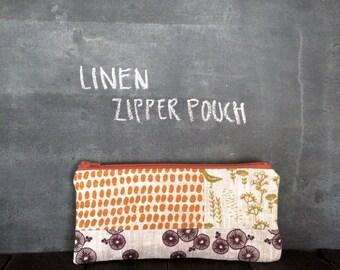 Hand Screen Printed Linen Zipper Pouch