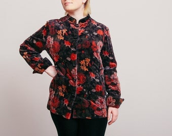 90s Moody Velvet Floral Jacket with Mandarin Collar - Small/Medium - Vintage - Rust Floral - ILGWU - 100% Cotton - Grunge