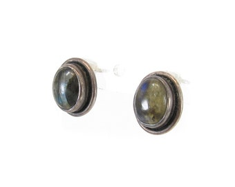 Vintage Labradorite Earrings, Sterling Silver, Posts, Marked 925