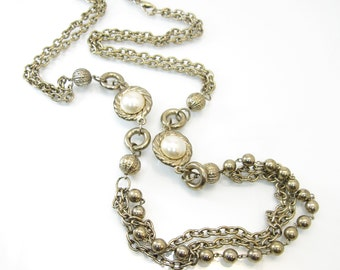 Vintage Multi Chain Necklace, Faux Pearls, Beads, Long, Gold Tone