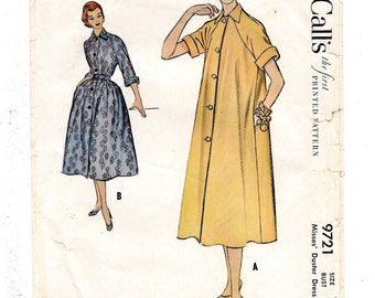 1950s McCall's #9721, Misses Duster Dress, Housecoat, House Dress, Day Dress, Vintage Sewing Pattern, Size 12 Bust 30