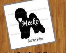Bichon Frise Dog Decal, Bichon Frise Window Decal, Dog Laptop Decal, Pet Decal, Bichon Frise Laptop Decal - You choose size and color.