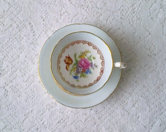 Royal Grafton Pale Blue Rose Floral Bone China Tea Cup and Saucer - Made in England