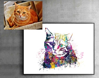 gift for cat lovers, Custom Cat Portrait, Watercolor Custom Pet Portrait, Cat Memorial, Pet Memorial, cat gifts, Custom Cat Print, WT13