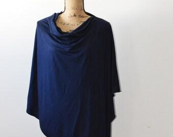 Navy Poncho/ Nursing Cover/ Nursing Shawl/ Breastfeeding Cover/ One shoulder Top/ New Mom Gift/ Womens Poncho
