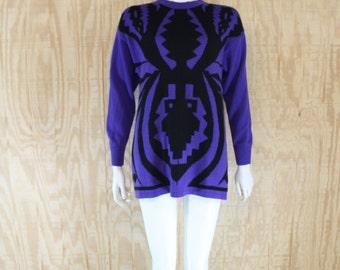 Vintage 1990's BELGIUM Wool Purple / Black Tribal Print Oversized Tunic Knit Jumper Sweater M / L