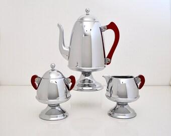 Art Deco Chrome and Bakelite Coffee Set