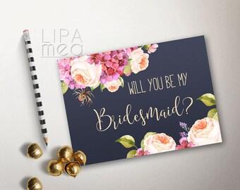 Will you be my Bridesmaid card Printable, Floral Bridesmaid Cards, Printable Bridesmaid Card, Hydrangea & Peony Bridesmaid Invitation Navy