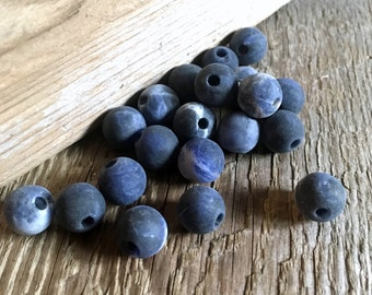 Matte Sodalite Round Beads - Center Drilled - Blue and White - 10mm - 12 Beads