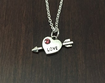 love necklace, love jewelry, love pendant, love charm, arrow necklace, heart jewelry, arrow pendant, heart charm, i love you, necklace