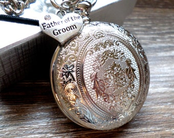 Father of The Groom Pocket Watch Silver Quartz with Vest Chain Personalized Father of The Groom Gift Idea Ships to US/Canada SLEQ