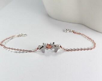 Double Color Chain Dog bracelet, Pet  Heart BRACELET.Initial Puppy Bracelet -Two dogs bracelet. 2 color chain Mix bracelet, pet jewelry