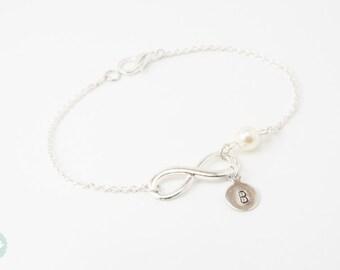 Infinity bracelet, pearl bracelet, bridesmaid bracelet, bridesmaid gift, initial, silver pearl bracelet,cute bracelet, friendship bracelet