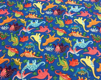 Patchwork Quilting Fabric Nutex Dinosaur Dance Blue