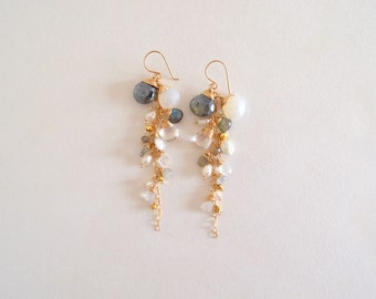 Winter (White / Silver) Gemstone Dangle Earrings, Gold Filled (Chalcedony, Moonstone, Pearl, Labradorite)