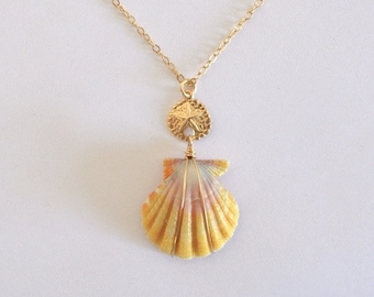 Sunrise Shell with Sand Dollar Necklace, Gold Filled Chain