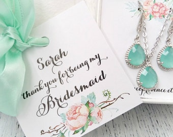 Bridesmaids Jewelry Bridesmaid Earrings Bridesmaid gift Mint Wedding Mint Silver Jewelry