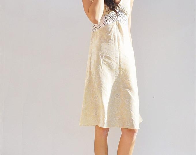 Silk Midi Dress, Vintage 90s Silk Cream Printed Sleeveless Midi Dress, Allegra Hick Silk Dress, Midi Dress, Wedding Guest Dress, Sundress