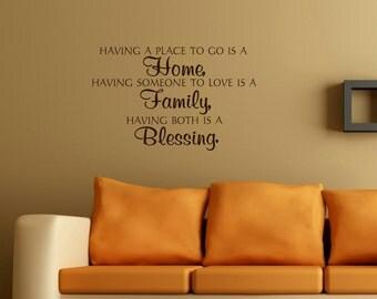 Home Family Blessing wall decal - wall vinyls decals art - wall decor - vinyl wall art