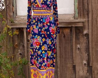 Vintage Bright Hippie Maxi Dress WOW Colors!