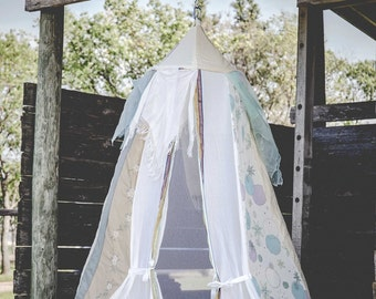 Scarf Bed Canopy, Light blue Tent, eye-catching photo prop