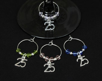 25th Birthday/Silver Wedding Anniversary Wine Glass Charms-SALE-Set of 4-S25/003-4