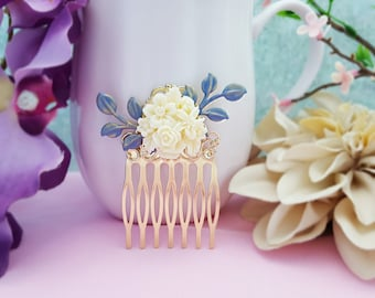 Blue and White Hair Comb, Ivory Hair Piece, Blue Leaf Comb, Cornflower Blue Bridesmaid, Dusty Blue Wedding, Blue and Ivory Wedding, H2039