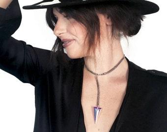 Silver Lariat Necklace - Silver - Lariat Necklace- Swarovski Jewelry