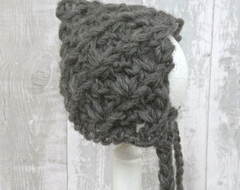 Baby Pixie Hat, Dark Grey Knitted Bonnet, Baby Elf Hat, Winter Bonnet Baby, Newborn Elf Hat, Knit Baby Hat, Baby Shower Gift, Photo Prop