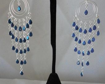 Fabulous Teardrop 87 Carat Sapphires Chandelier Silver Ring*********.