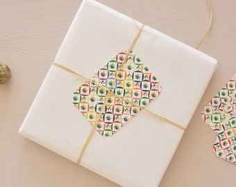 Set of 5 little cards / gift tags printed with a floral pattern, for wrappings and little words