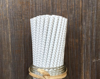 Silver Straws, 100 Paper Straws, Silver Chevron Straws, Birthday Party, Shower Party Supply, Wedding Straws, Free Shipping