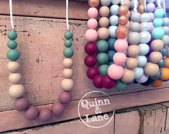 Silicone Teething Necklace CHOOSE COLOR - Bite Beads Nursing Necklace  - Teether Chewing Beads - Chew Jewelry Beads  - Little Pretties
