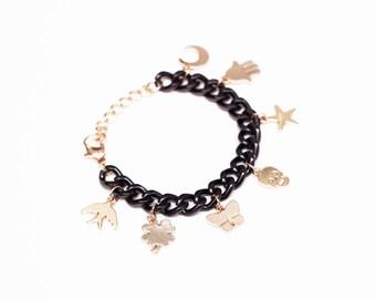 Gold Charm Bracelet Chunky Bracelet Big Bold Chain Bracelet Bold Black Chain Star Charm Bracelet