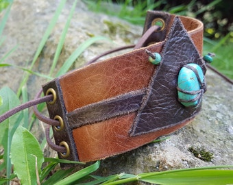 Abstract Leather Cuff with Turquoise Stone