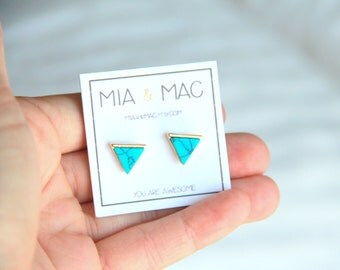 Turquoise triangle stud earrings, Turquoise earrings, Triangle studs, Modern jewelry, Small Earrings, Dainty Jewelry, Bridal Bridesmaid