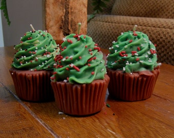 Christmas Tree Cupcake Candles made with soy wax!